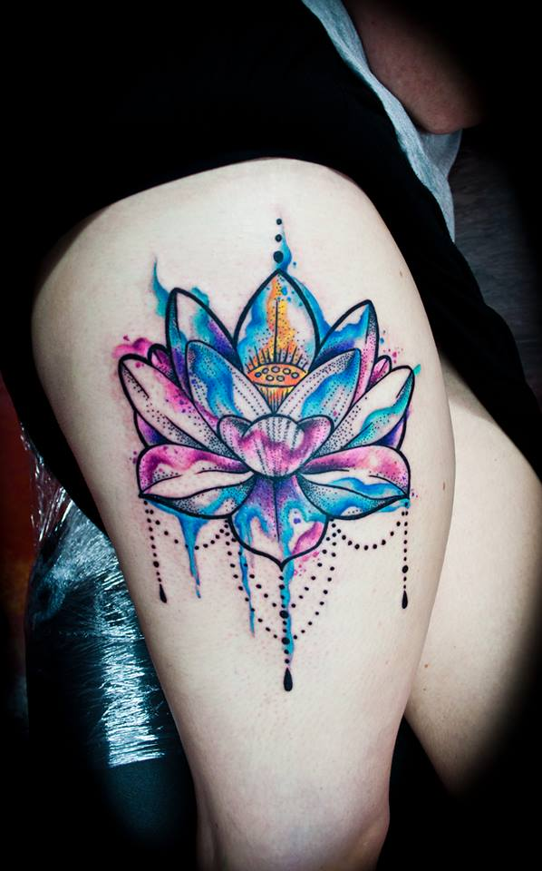 watercolor lotus flower tattoo on right thigh. Black Bedroom Furniture Sets. Home Design Ideas