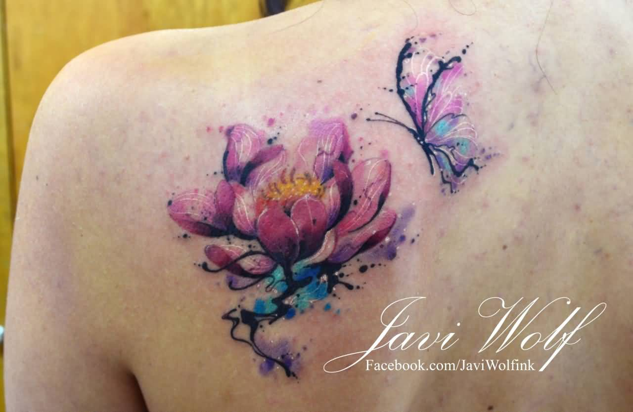 49 watercolor lotus tattoos ideas for Lotus flower and butterfly tattoo designs