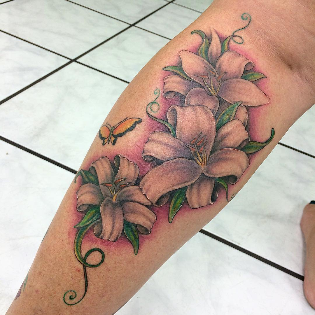 White Lily Flowers Tattoos On Back Leg
