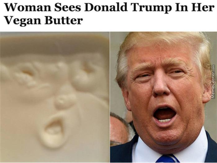 Askideascom Woman Sees Donald Trump In Her Vegan Butter Funny Meme