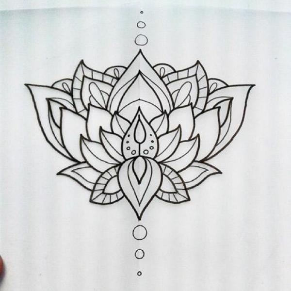 Wonderful black outline lotus flower tattoo design mightylinksfo