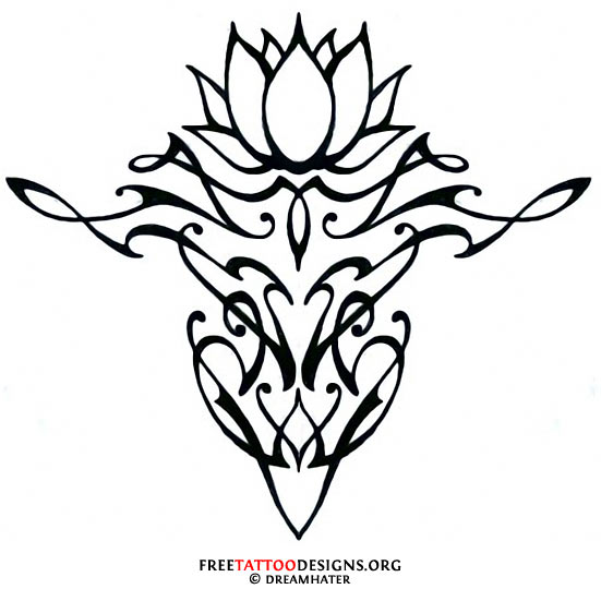 ec3ec8480 Wonderful Black Outline Lotus Flower Tattoo Stencil