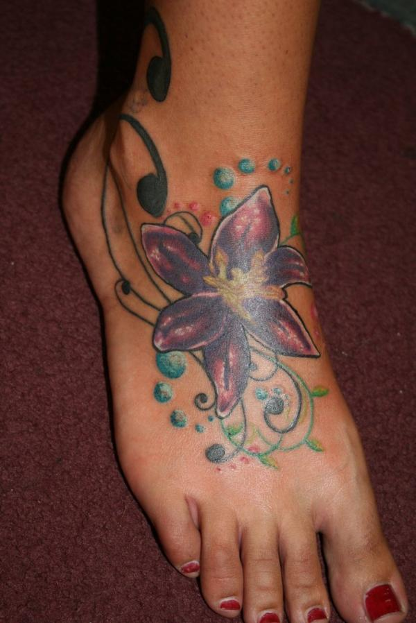 6811a16c3ce2e Wonderful Lily Flower Cover Up Tattoo On Girl Right Foot