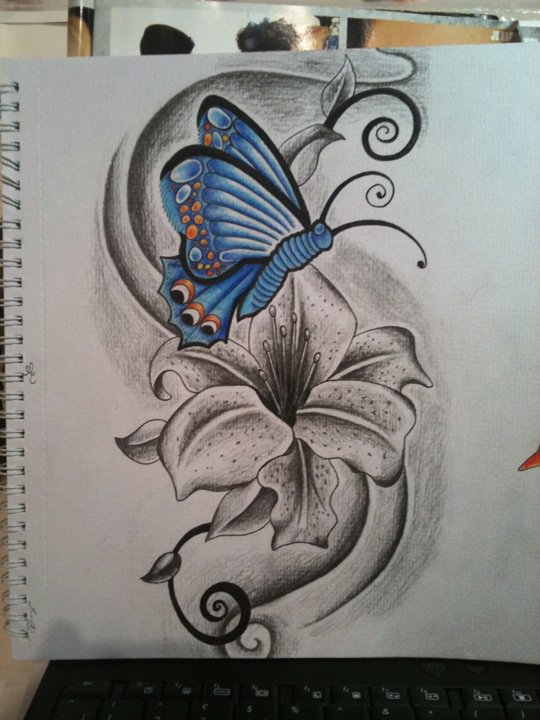 43 lily with butterfly tattoos ideas