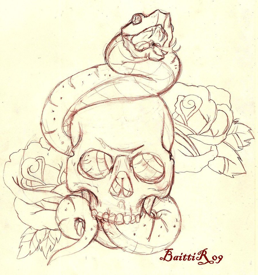Wonderful Snake In Skull With Roses Tattoo Design