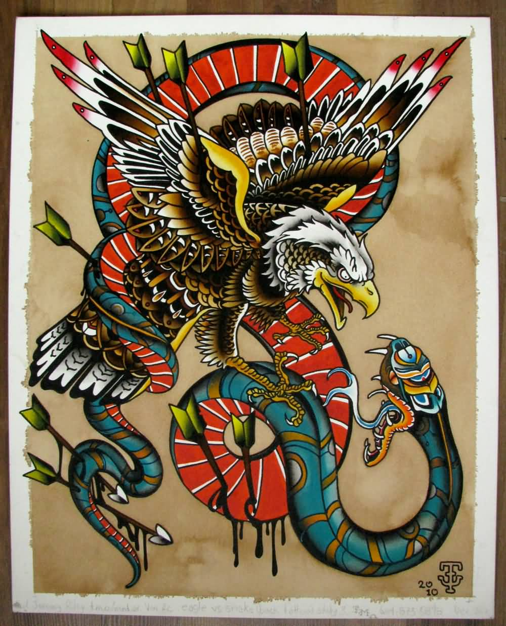45+ Snake And Eagle Tattoos Collection |Traditional Eagle And Snake Tattoo