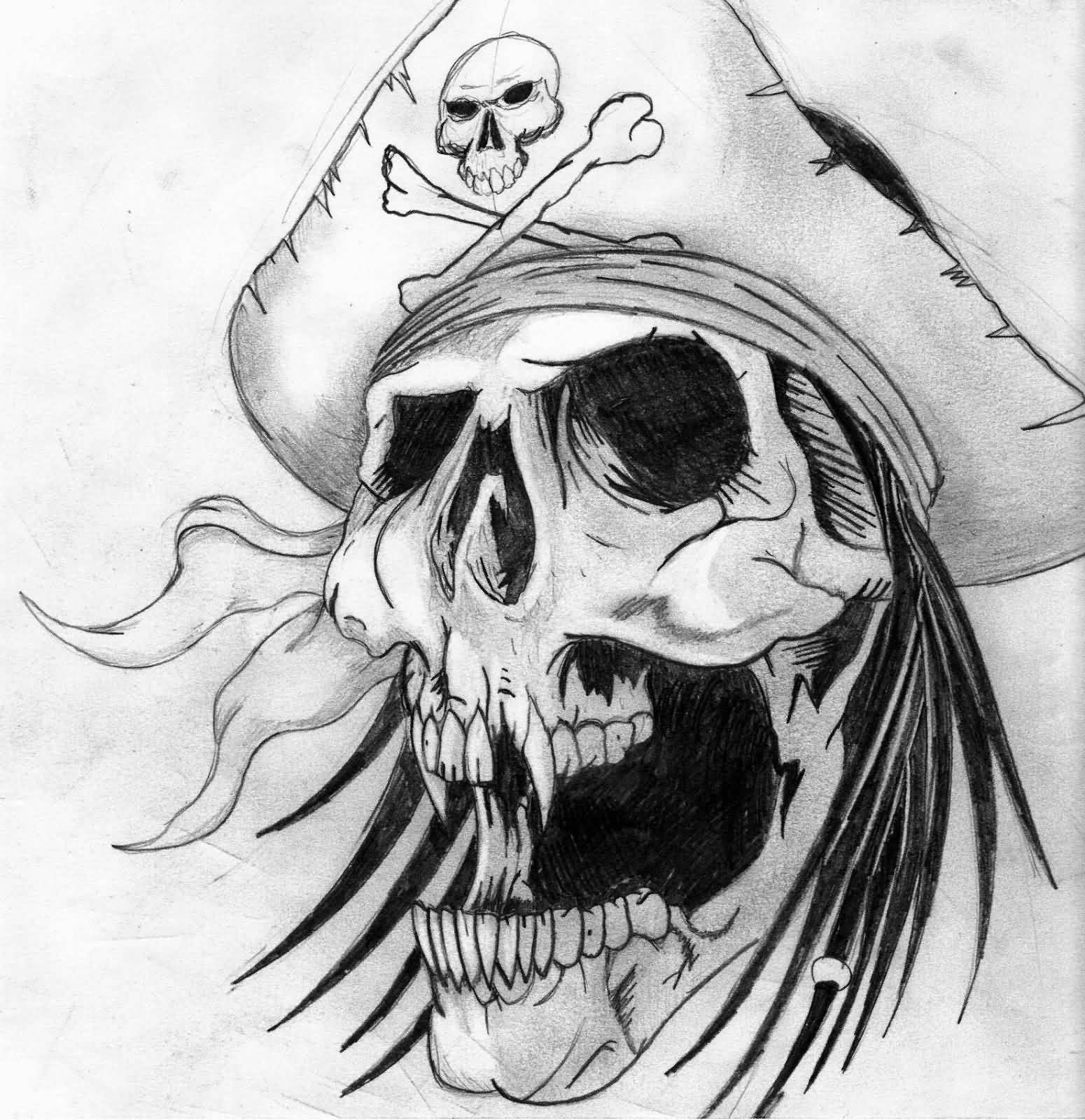 Tattoo Designs Skull: Cool Pirate Skull With Gun And Rose Tattoo Design