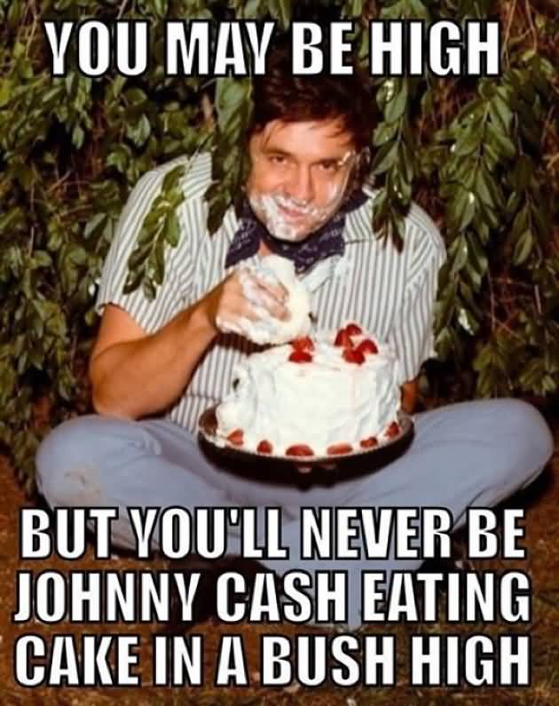 You May Be High But You Ll Never Be Johnny Cash Eating Cake In A Bush