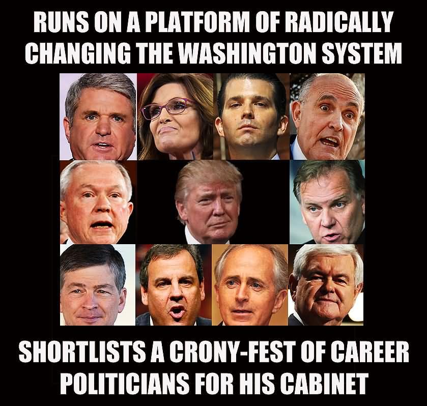 "Donald Trump totally flipflops on his ""Drain the Swamp"" platform ..."