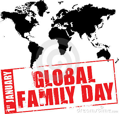 Global Family Day January 1 Families Around World Illustration