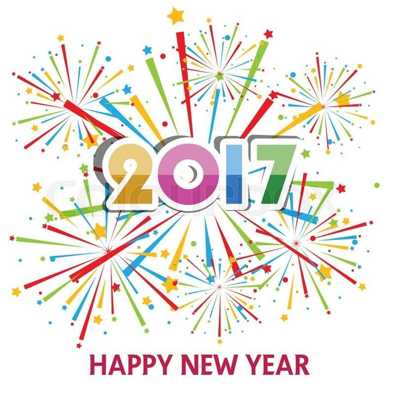 2017 Happy New Year Colorful Fireworks Background