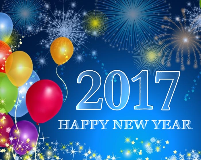 2017 happy new year fireworks and balloons