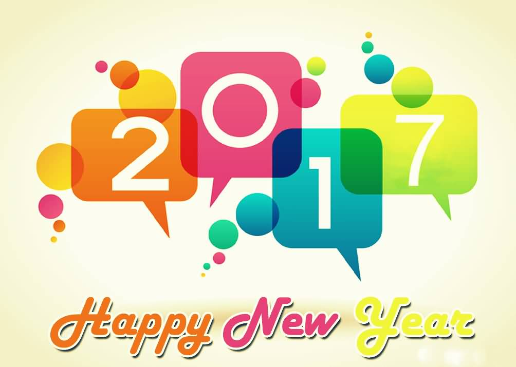 2017 happy new year wishes colorful text picture
