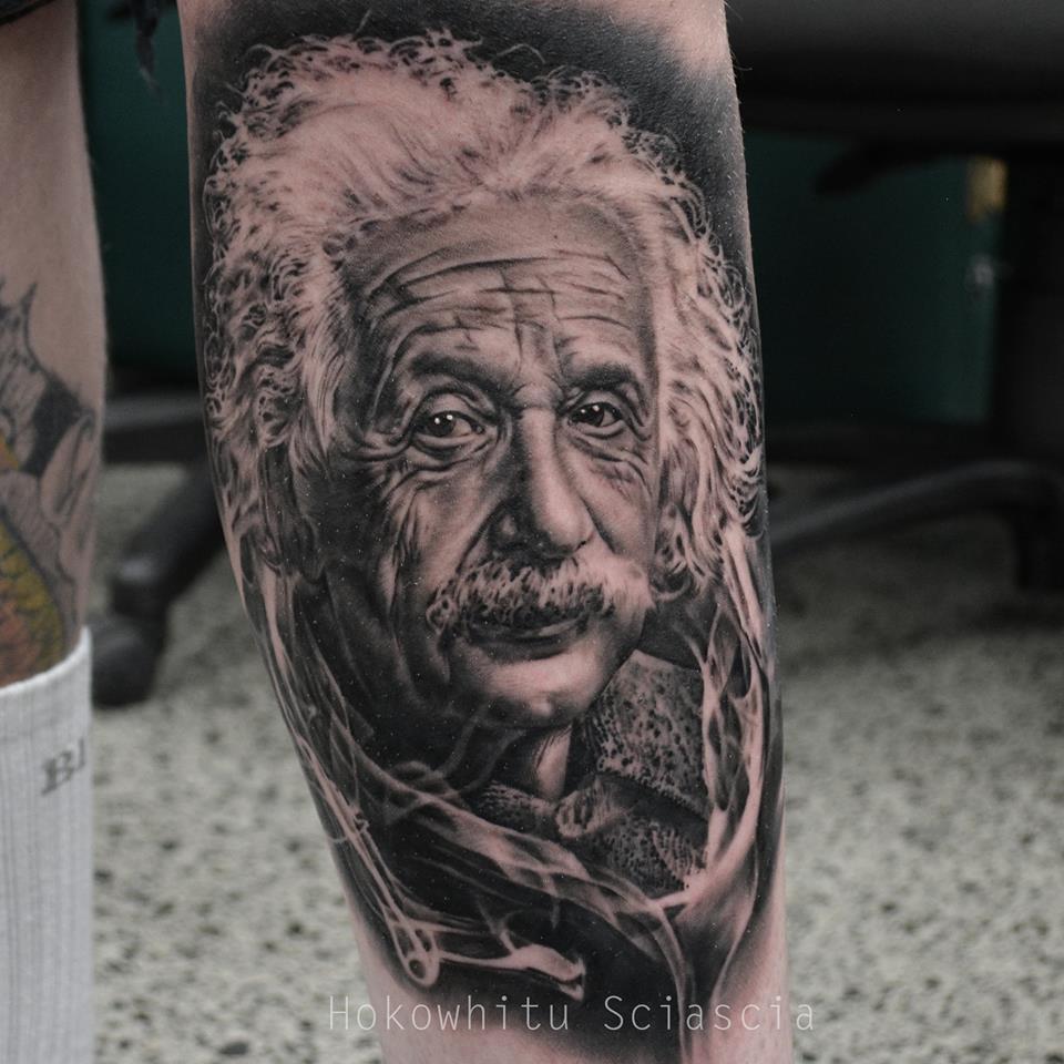Albert Einstein Portrait Tattoo On Sleeve