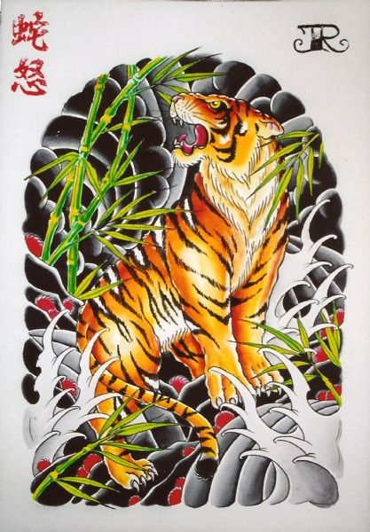 53 japanese tiger tattoos and ideas for Back mural tattoo designs