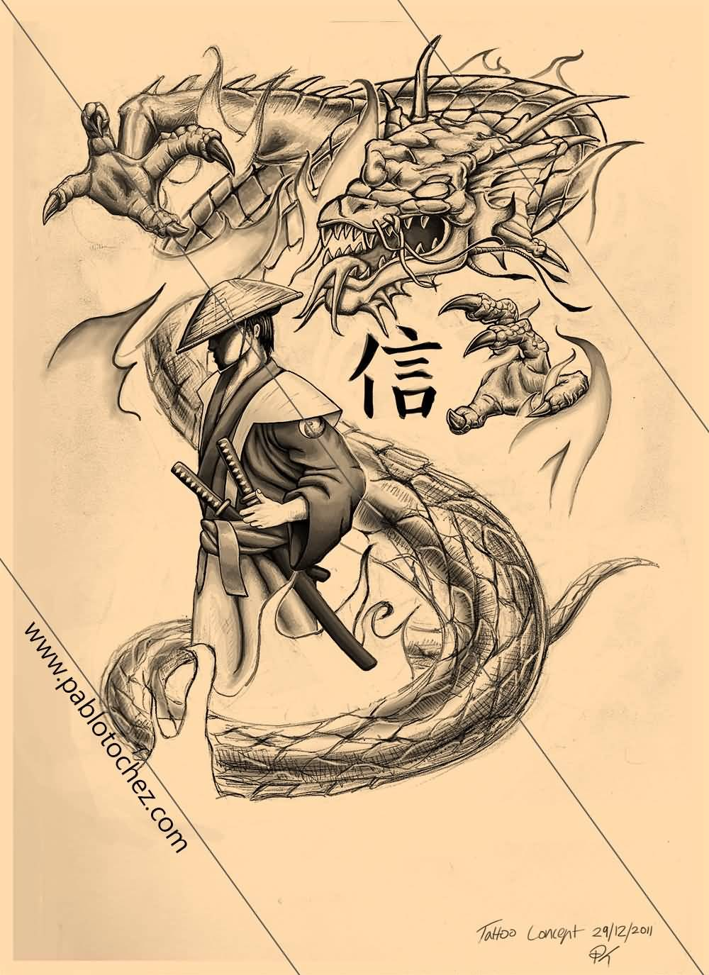 25 Samurai Dragon Tattoos Collection
