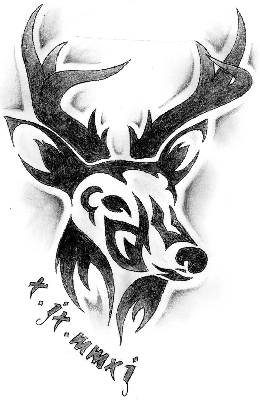 This is an image of Satisfactory Tribal Skull Drawing