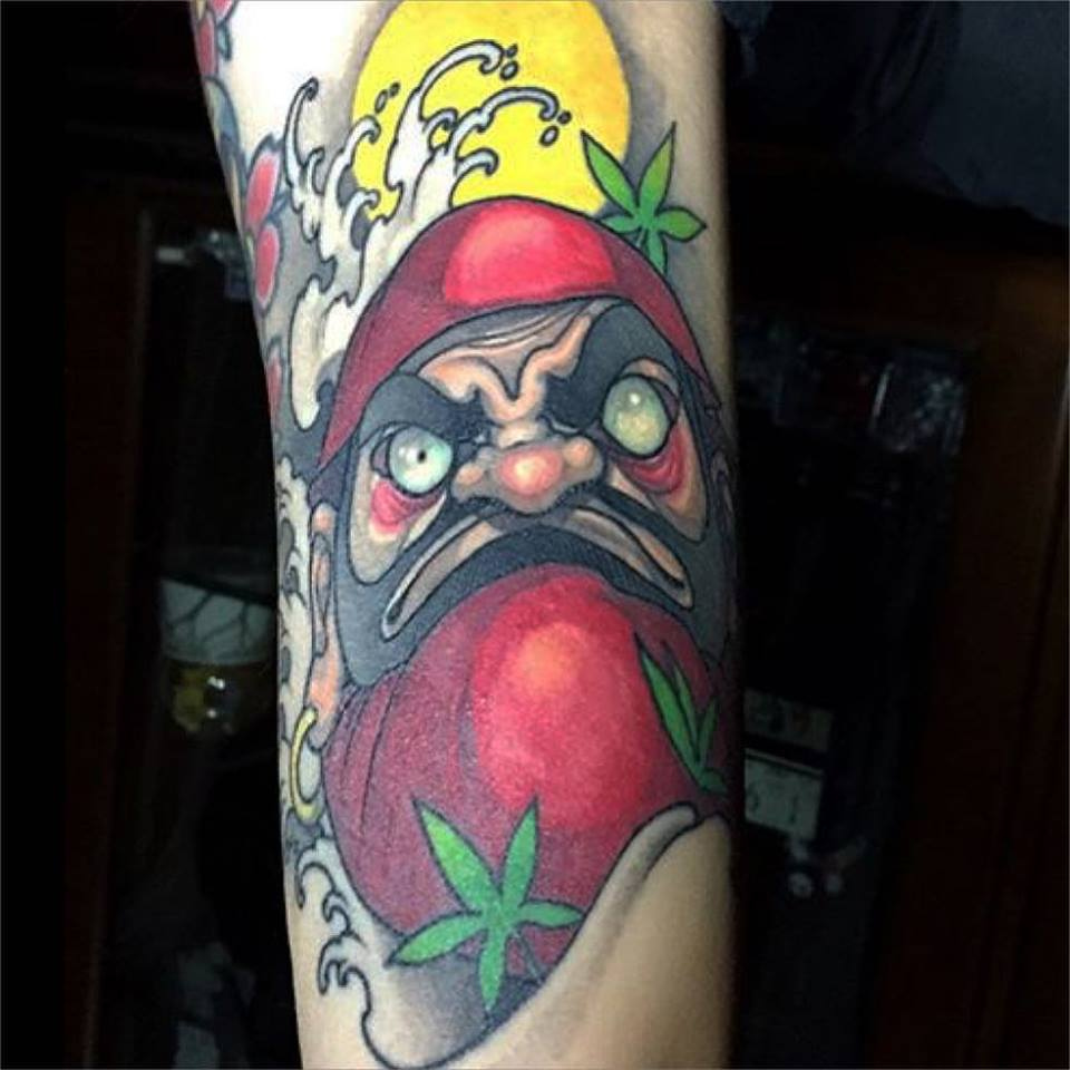 angry healed daruma tattoo design for sleeve. Black Bedroom Furniture Sets. Home Design Ideas
