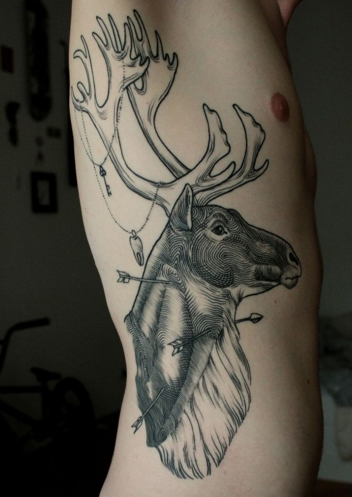 52 beautiful deer tattoos and designs for Tattoos on side of head
