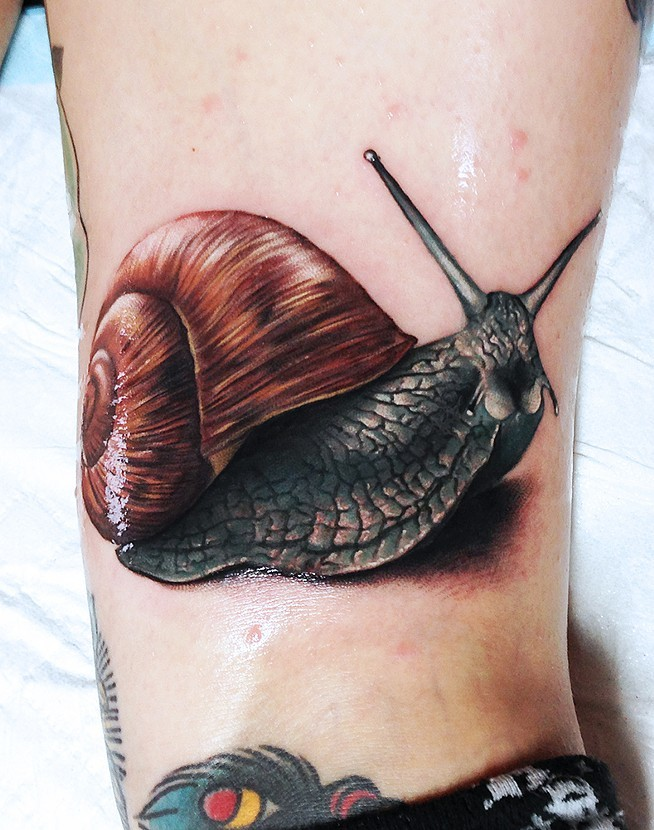 Attractive 3D Snail Tattoo Design For Sleeve