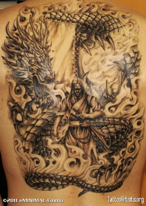 Grey ink dragon with phoenix tattoo design by loren fetterman - 25 Samurai Dragon Tattoos Collection