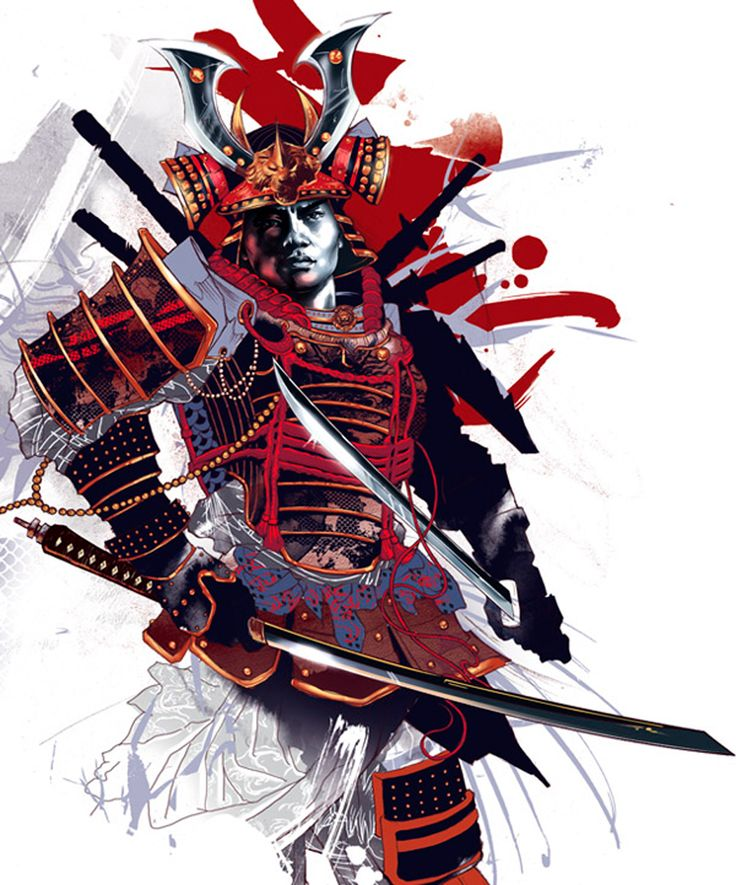 Attractive Colorful Samurai Warrior Tattoo Design By Kent Floris