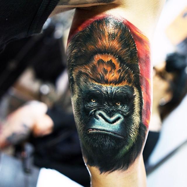 Attractive Gorilla Head Tattoo On Left Bicep