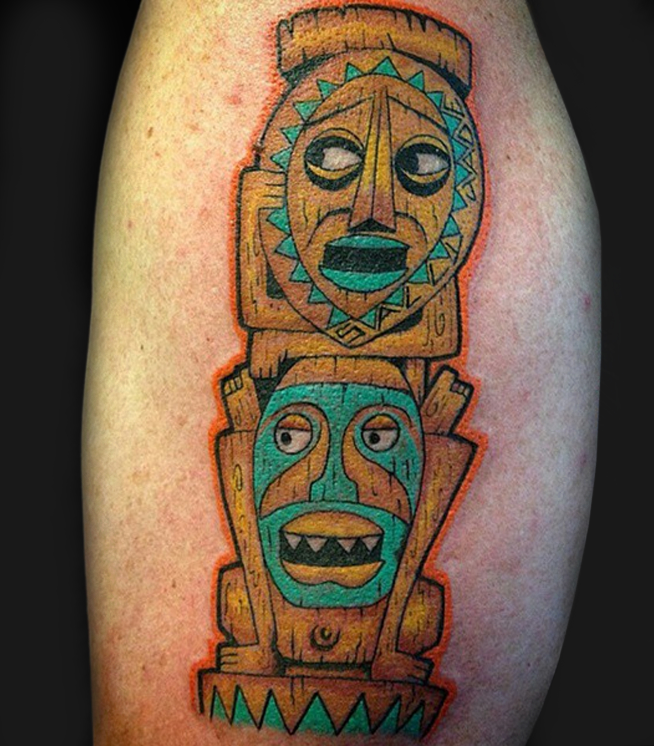 Attractive Tiki Mask Tattoo Design For Sleeve By Randy Brard