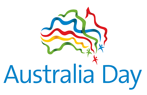 Australia Day Colorful Ribbons Logo