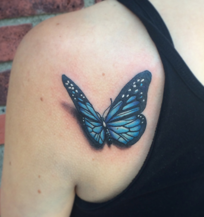 a44027fa0 Awesome 3D Butterfly Tattoo On Left Back Shoulder By Spencer Caligiuri