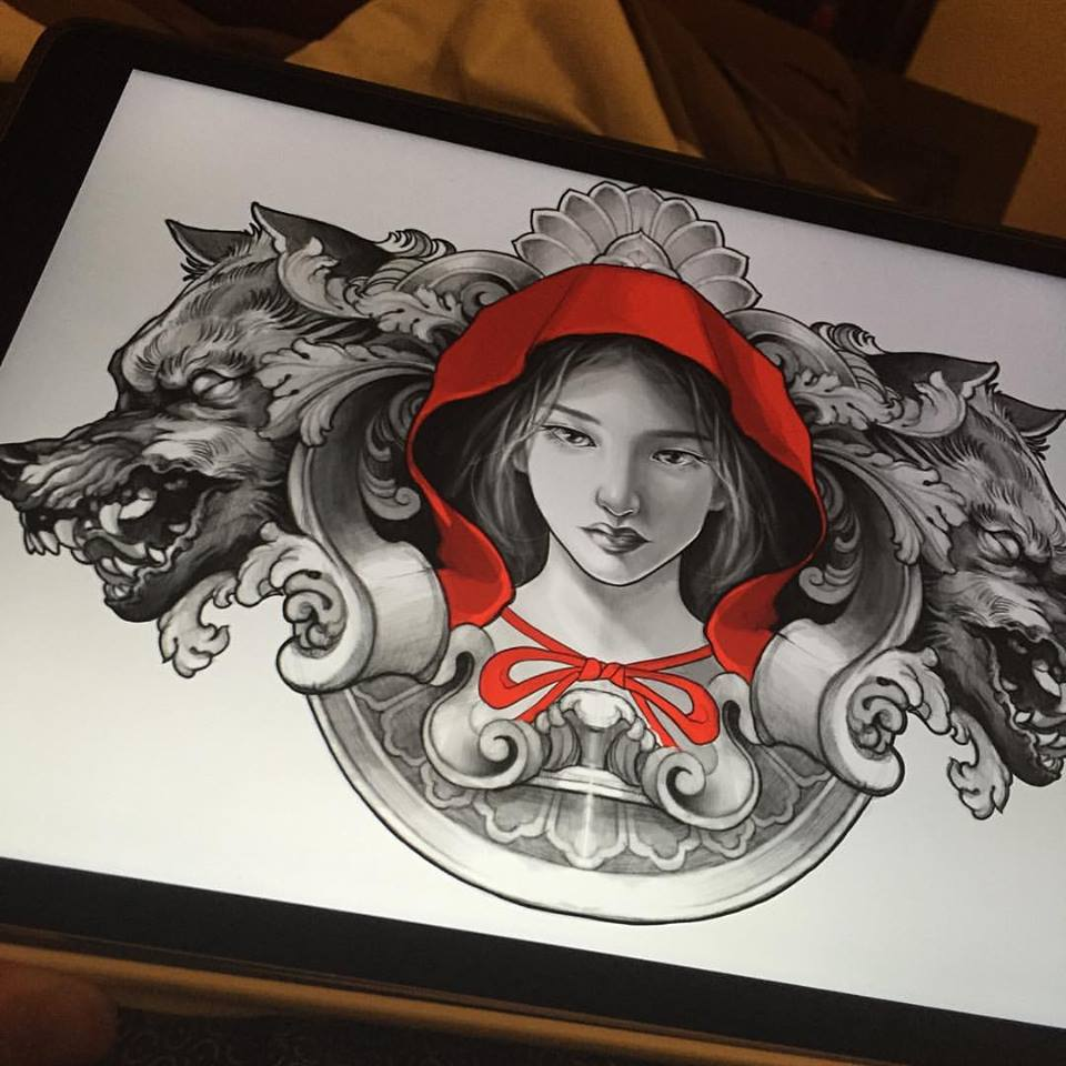 awesome red riding hood with two wolf head tattoo design by elvin. Black Bedroom Furniture Sets. Home Design Ideas