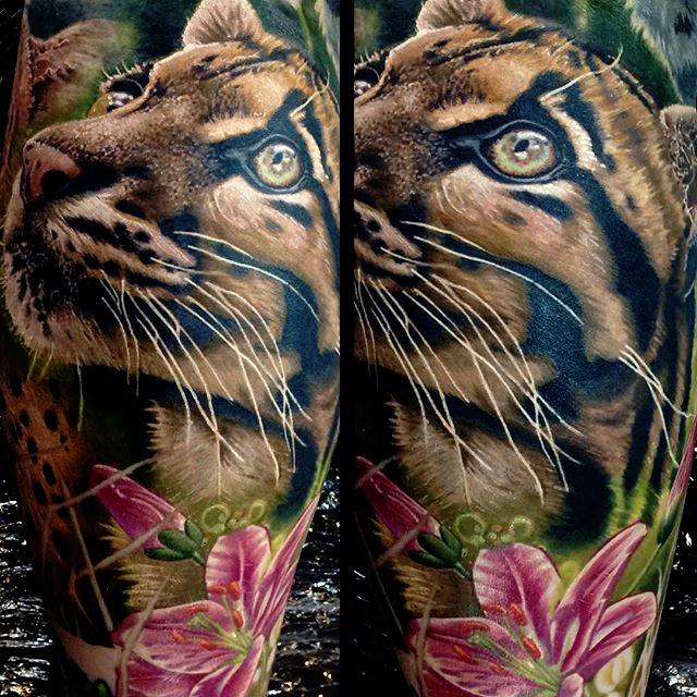 Awesome Tiger Kitten Face With Flower Tattoo Design For Leg Calf