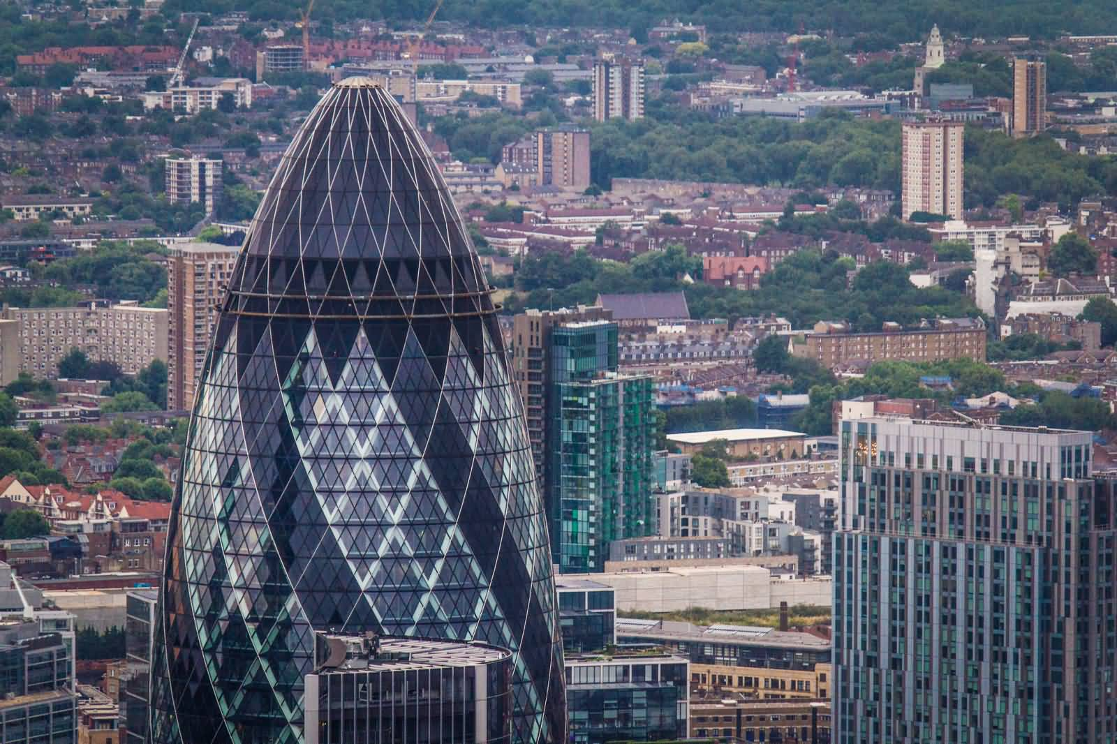 beautiful view of the gherkin building in london