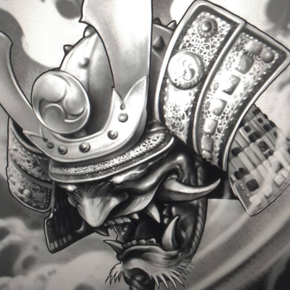 black and grey 3d samurai head tattoo design
