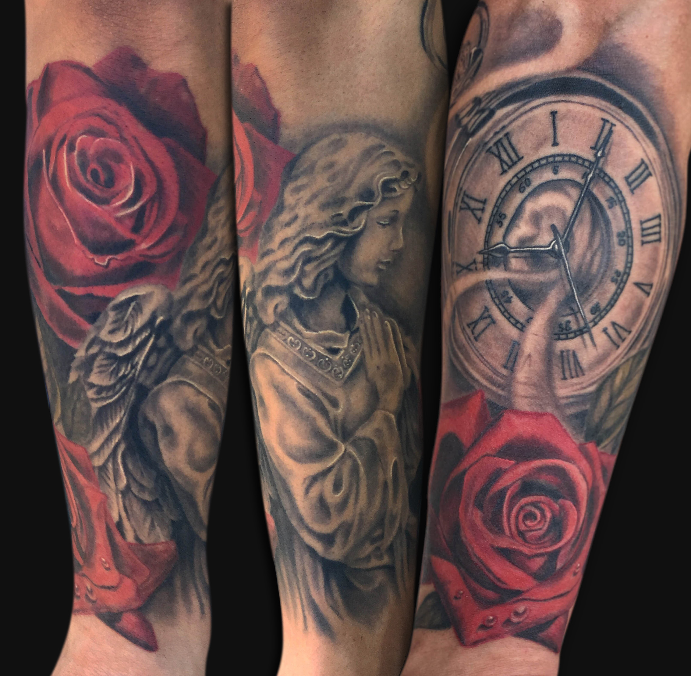 Black And Grey Angel With Clock And Red Rose Tattoo On Arm