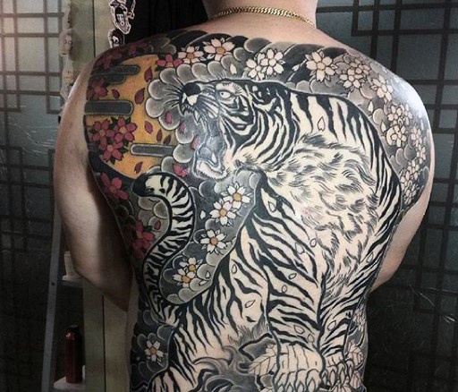 49ad7bb68 Black And Grey Japanese Tiger Tattoo On Man Full Back