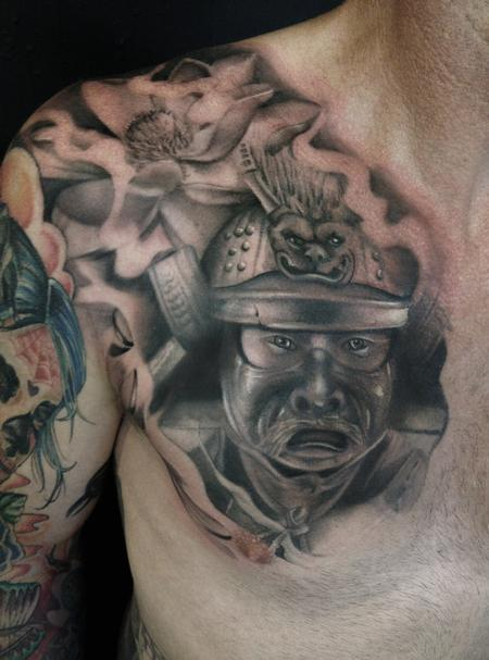 21 best samurai chest tattoos designs for Black and grey chest tattoos
