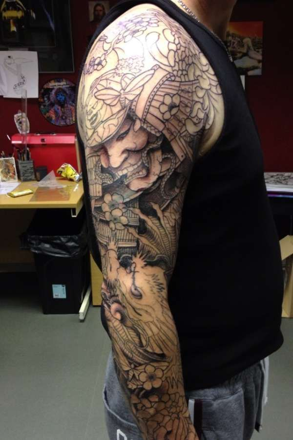 Black And Grey Samurai With Dragon Tattoo On Right Full Sleeve