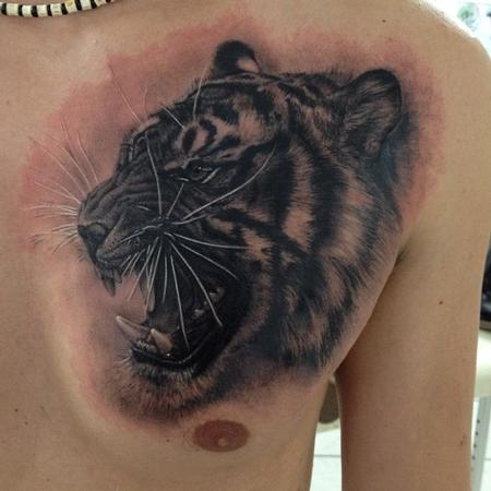 Tiger face chest tattoo - photo#8