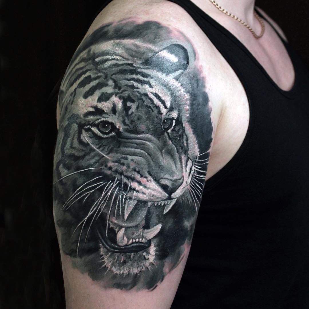 8c99156f3 Black And Grey Tiger Head Tattoo On Shoulder