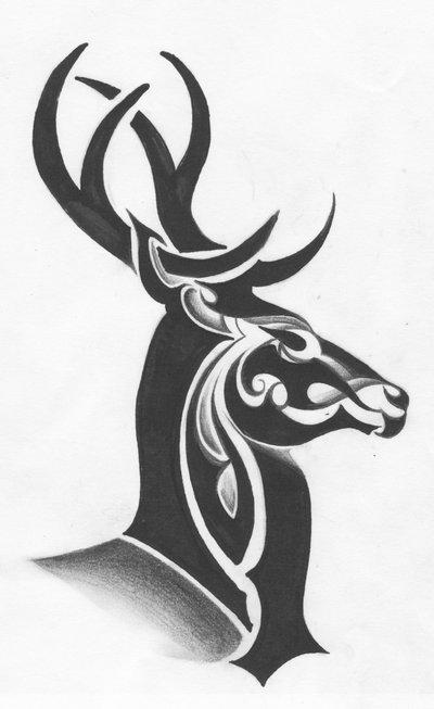 37 tribal deer tattoos ideas and designs. Black Bedroom Furniture Sets. Home Design Ideas