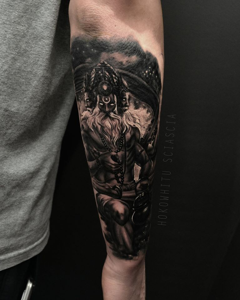 Black ink lord brahma tattoo on right arm for Tattoos on right arm