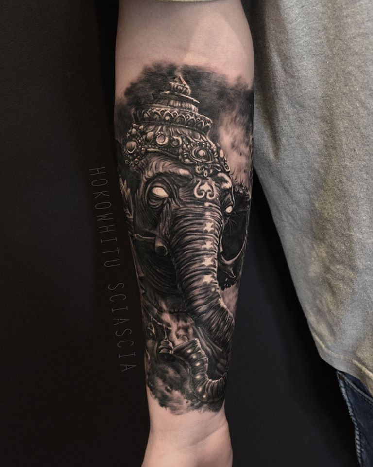 a4fae2030 Black Ink Lord Ganesha Tattoo On Forearm