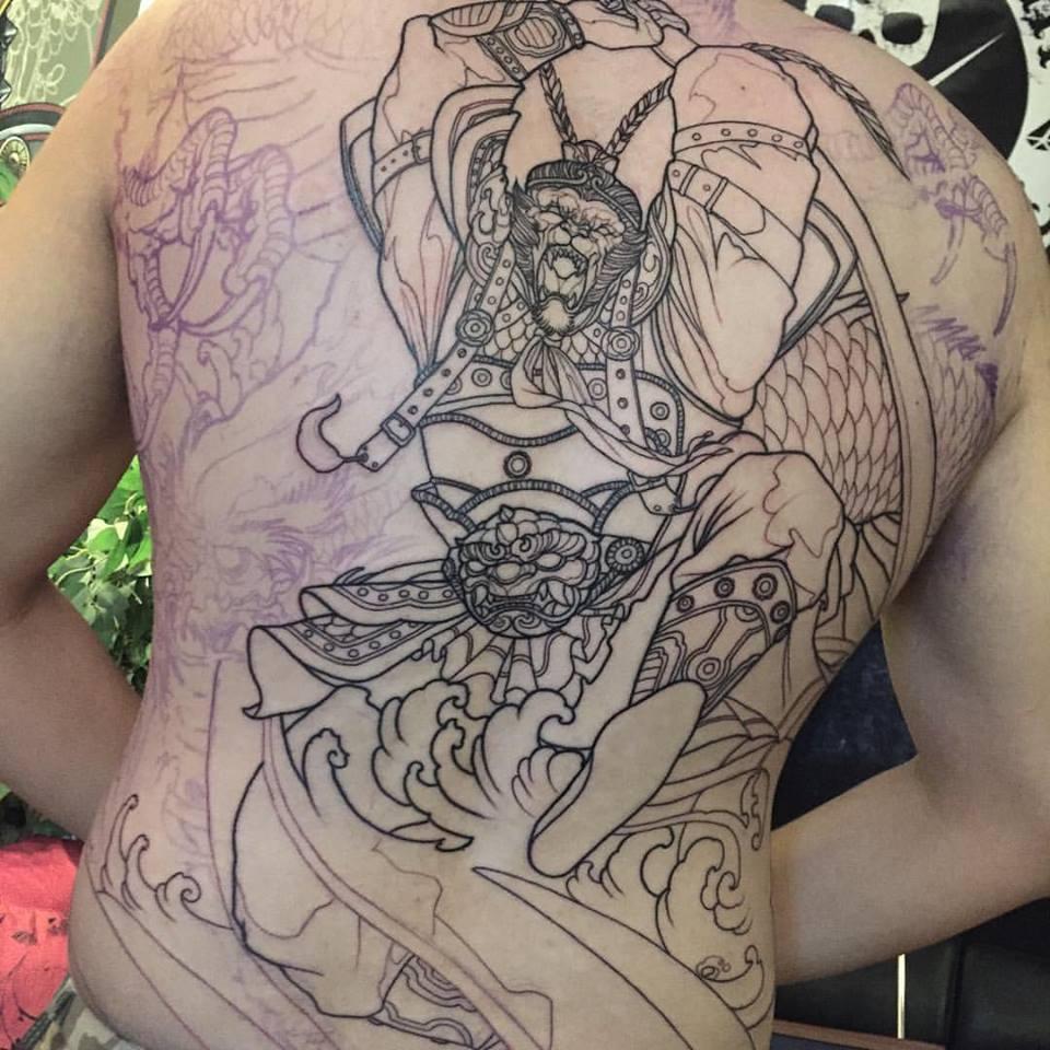 Black Ink Monkey King Tattoo On Full Back