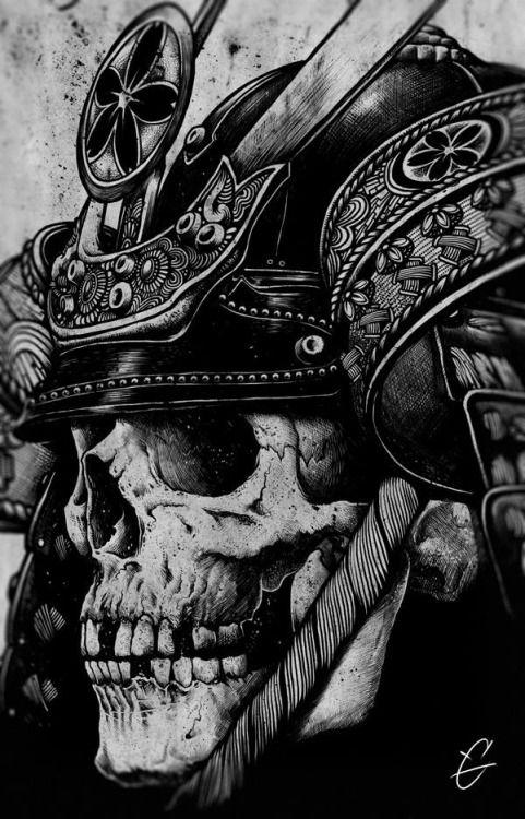 attractive black ink 3d samurai skull with dragon tattoo