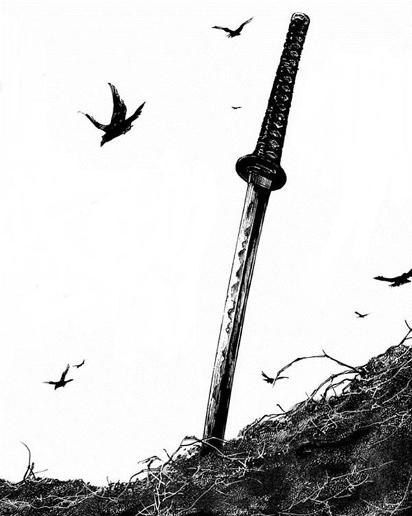 Black Ink Samurai Sword Tattoo Design