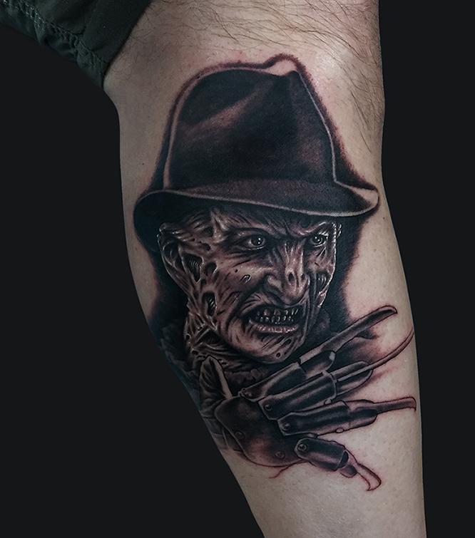 2fca0be14 Black Ink Scary Freddy Krueger Tattoo On Leg Calf By Marc Durrant