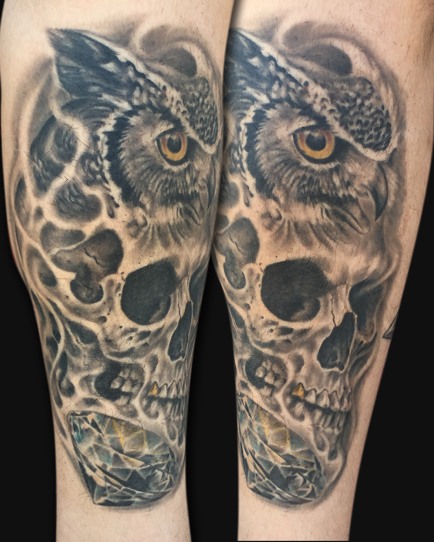 Owl tattoos for Owl tattoo skull