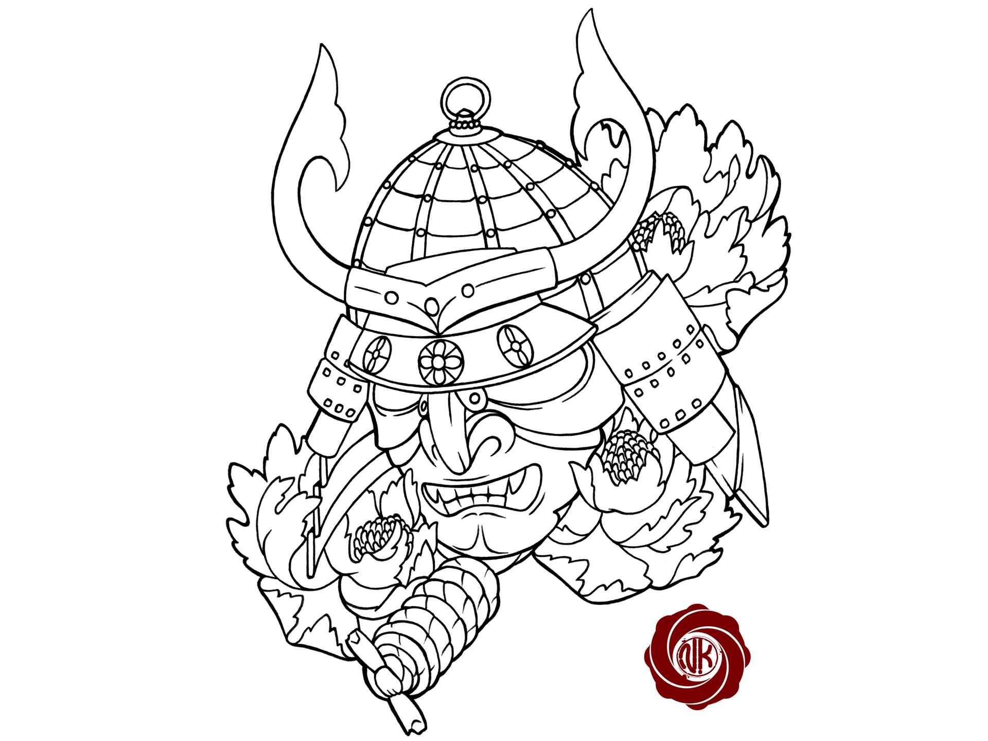 Black Outline Samurai Head With Flowers Tattoo Stencil