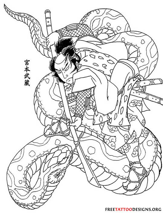 Snake Tattoo Line Drawing : Black outline traditional samurai with snake tattoo stencil
